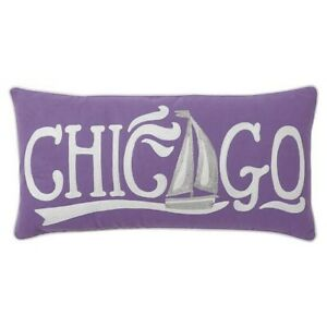 """Pottery Barn Teen Jet Setter Chicago Pillow Cover Purple crewelwork NWT 12""""X24"""""""