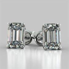 Emerald Cut Stud Earrings Available in 14K, 18K and Platinum