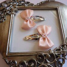 girls hair clips snap clips slides bendies  hair clip peach bows