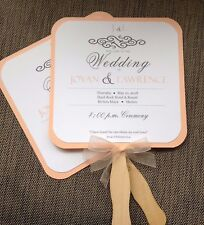 Peach / Dark Gray Program Wedding Fan