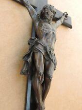 ALTES KREUZ KRUZIFIX  JESUS KORPUS BRONZE HOLZ FRENCH ANTIK