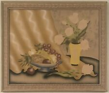 Beautiful mid century still life painting of mixed fruit and flowers. Pastel