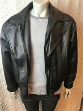 Serge Platini- Black Leather Zip Up Jacket with zip out liner from Milan- Size M