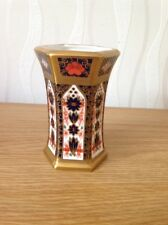 Royal Crown Derby 1st Quality Old Imari Solid Gold Band Hexagonal Vase