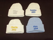 Baby Knitted Wool Embroidered Personalised Hat With Saying Name & Date