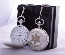 LASER Personalised FATHER'S DAY Pocket Watch in Gift Box For Dad/Daddy/Grandad