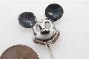 VINTAGE SILVER & ENAMEL EARLY MICKEY MOUSE PIN c1930's DISNEY COLLECTIBLE