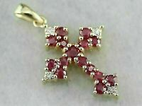 14Carat Yellow Gold Over 2.10Ct Round Gorgeous Red Ruby & Diamond Cross Pendant