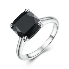 Black Spinel 4.0ct Cushion Cut 9x9mm Solid 10K White Gold Beauty Gemstone Ring