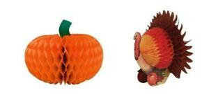 "Harvest Happy Thanksgiving 6"" Pumpkin and Turkey Honeycomb Centerpieces"