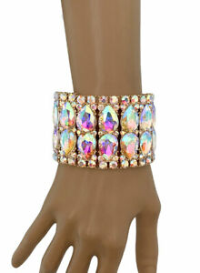 "2"" Wide Aurora Borealis Crystals Luxurious Bracelet Evening Costume Jewelry"