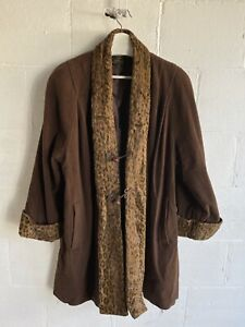 Vintage Wool and Cashmere Coat With Fur Print Large Brown