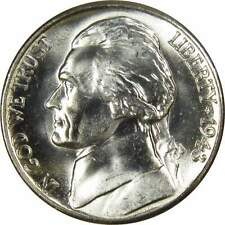 1943 S 5c Jefferson Wartime Silver Nickel US Coin BU Uncirculated Mint State