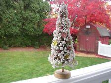 "Vintage 10"" Japan Bottle Brush Christmas Tree Snow Ball Bead Pink Gold Foil Star"