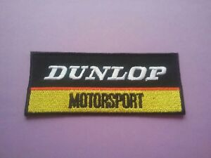 DUNLOP MOTORSPORT PATCH:- SEW or IRON ON:- MOTOR RACING OILS FUELS & TYRES