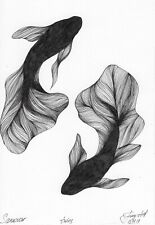 original drawing 12 x 17 cm 3Pir art marker, liner sketch modern fish Signed