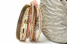Women's Fashion Glittery Boho  Bollywood Bangles Bracelet Set Gold