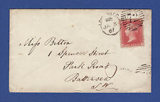 V72 GB QV 1857 1d ROSE-RED (SG40) PLATE 48 'HE' FU ON COVER LONDON TO BATTERSEA