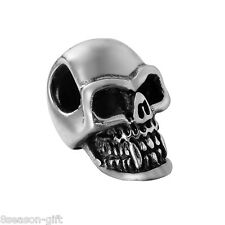 HOT 5X 316L Stainless Steel Silver Tone Gothic Punk Skull Spacer Charm Beads