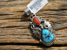 "Sterling silver turquoise red coral pendant 1 3/4"" long  free 18"" cobra  chain"