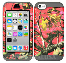 For Apple iPhone 5c KoolKase Hybrid Armor Silicone Cover Case - CAMO MOSSY PINK