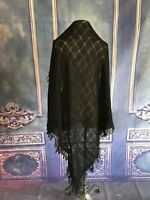 Baar & Beads VINTAGE Black Boucle Square Scarf Wrap Soft Acrylic Mad in JAPAN