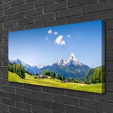 Leinwand-Bilder 100x50 Wandbild Canvas Kunstdruck Felder Baum Gebirge Landschaft