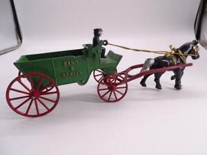 Antique Cast Iron Toy Horse Wagon Cart Buggy Sand & Gravel Kenton Toys Vintage
