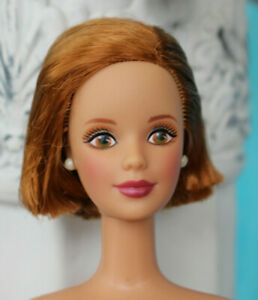 Nude TNT Barbie bob red hair head ginger brown eyes Mackie face NEW for OOAK