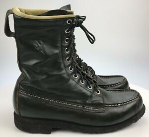 Men's 8 D - Vintage Browning USA Green Leather Moc Toe Lace Up Crepe Sole Boots