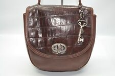 Fossil Vintage Brown Croc Embossed Leather Small Turnlock Flap Shoulder Bag