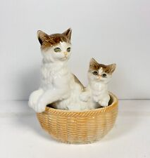 Vintage Ceramic Cats Kittens In A Basket Japan 1967 Brown White