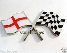 Enamel Chrome England Flag & chequered flag crossing Car Badge Saint George