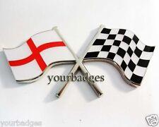 Enamel Chrome England Flag & chequered flag crossing Car Badge Saint George