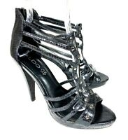 Aldo Womens Heels Caged Black Leather Studded Strappy Zip Stiletto Size 39 8.5 M
