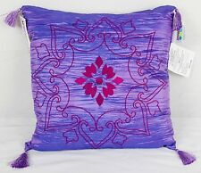 """Seventeen Decorative Throw Pillow 16"""" x 16"""" - Purple with Dark Pink Embroidery"""