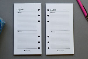 2021 - 2022  Personal Size Refills - 2 Days a Page | Fits Filofax Organisers.