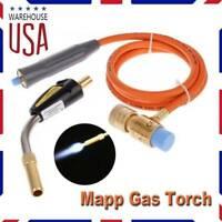 Mapp Gas Plumbing Turbo Torch Propane Soldering Brazing Welding Kit Tool+Hose US