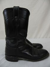"JUSTIN ""Cora"" #L3703 Ropers Womens 6.5 B Black Leather 9"" Western Cowgirl Boots"