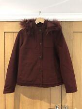 Roxy Maroon Faux Fur Hooded Coat, Size L, BNWT, RRP £110