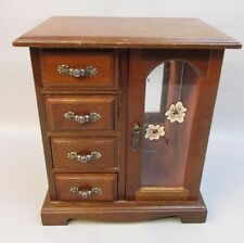Vintage Wood Jewelry Box Armoire Door Mirror drawers Floral Painted Glass
