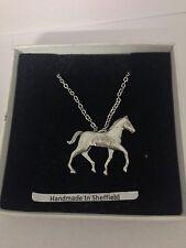 """Potro pp-e14 caballos y equitación Emblema En Plata Platino Plateado Collar 18 """""""