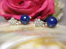 Earring 100% Natural Lapislazuli Studs Jewelry 925 Silver Pearls Stone