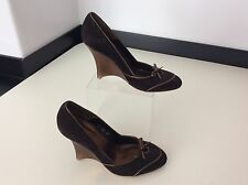 L K BENNETT Brown Wedge Heels Shoes Size 37 Uk 4 Suede Leather Bow Court
