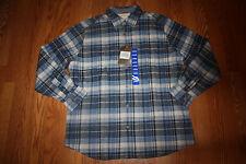 NWT Mens WEATHERPROOF Vintage LS Cobalt Blue Plaid Flannel Shirt Sz Large Tall
