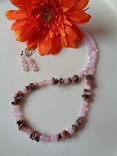 Außergewöhnliche Halskette Edelstein Rhodochrosit + Ohrbrisuren rosa opal UNIKAT