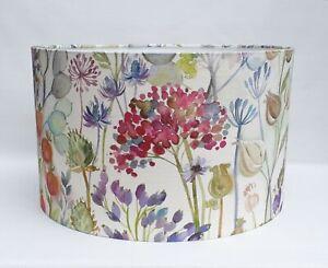 Handmade Voyage HEDGEROW cream Allium Honesty pink purple floral drum lampshade