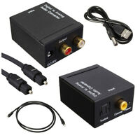 Digital Optical Coaxial Toslink Signal to Analog Audio Converter Adapter RCA RHN