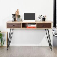 120*40*76 CM Retro Wood PC Computer Desk With 3 Storage Shelves Steel Tube Legs