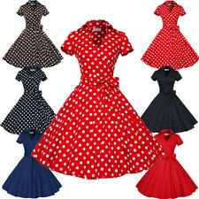 Women's Short Sleeve Vintage Style 1950s Rockabilly Cocktail Party Swing Dresses